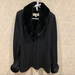 St. John cable knit faux fur sweater cardigan 4